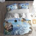 HELENGILI 3D комплект постельного белья с пляжным морским принтом  набор пододеяльников  Реалистичная постельное белье с наволочкой  набор домаш...