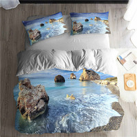 HELENGILI 3D 침구 세트 해변 바다 인쇄 Duvet 커버 세트 Pillowcase 침대 세트와 실물과 침구 홈 섬유 # ST-05