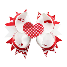 Adogirl 10pcs Sequine Love Heart Layered Bowknot Hair Bows for Girls Women Handmade Valentine Gifts Boutique Accessories