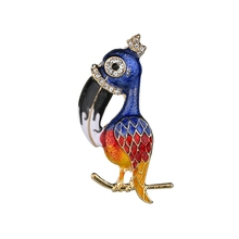 Gariton Colorful Rhinestone Enamel Parakeet Brooch Bird Gift For Children Wedding Jewelry  Party Christmas Gifts