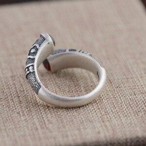 Image 5 - Gqtorch vitnage thai anel de prata 925 anéis de prata esterlina para as mulheres incrustado vermelho granada natural flor de pedra preciosa gravado grenat