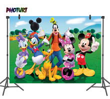 PHOTURT Mickey Minnie Mouse Photography Backdrop Baby Shower Birthday Party Background Duck Dog Grass Vinyl Photo Studios Props