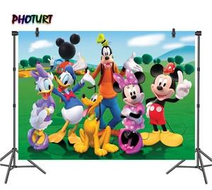 Image 1 - PHOTURT Mickey Minnie Mouse fotoğraf Backdrop bebek duş doğum günü partisi arka plan ördek köpek çim vinil fotoğraf stüdyoları sahne