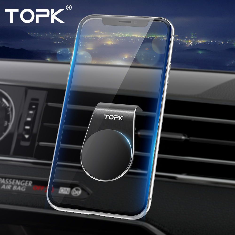 TOPK Magnetic Car Phone Holder Portable L Shape Air Vent Mount Magnet Cell Phone Stand Holder For IPhone X 7 Samsung Xiaomi