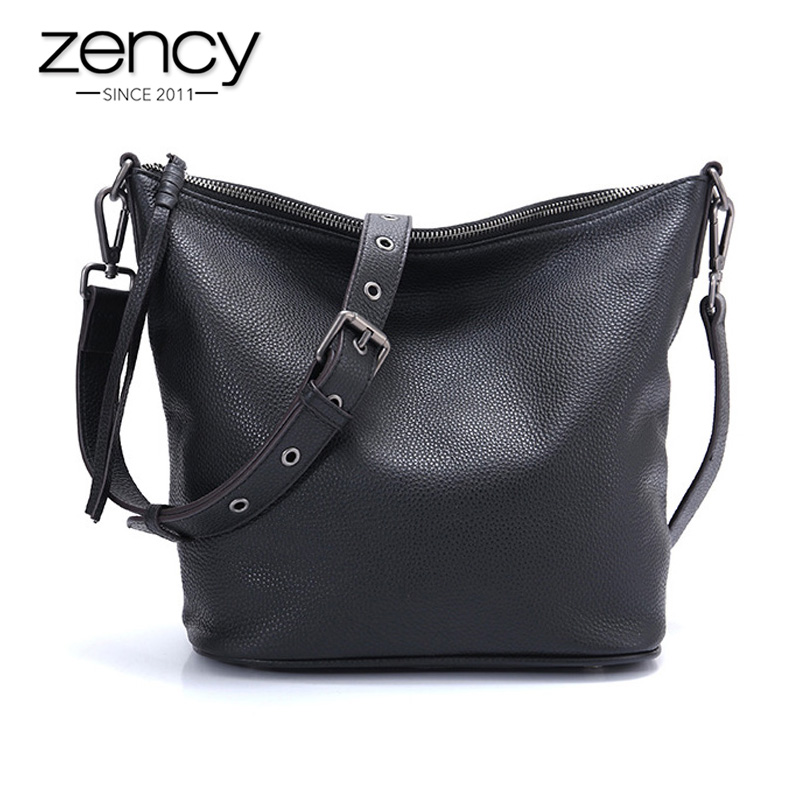 Zency Soft Skin First Layer Cowhide Leather Fashion Black Handbag Casual Crossbody Messenger Bag For Lady Large Capacity Hobos