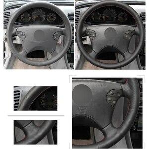 Image 3 - Zwart Lederen Hand Gestikt Auto Stuurhoes Voor Mercedes Benz W210 E Klasse E320 2000 2001 2002