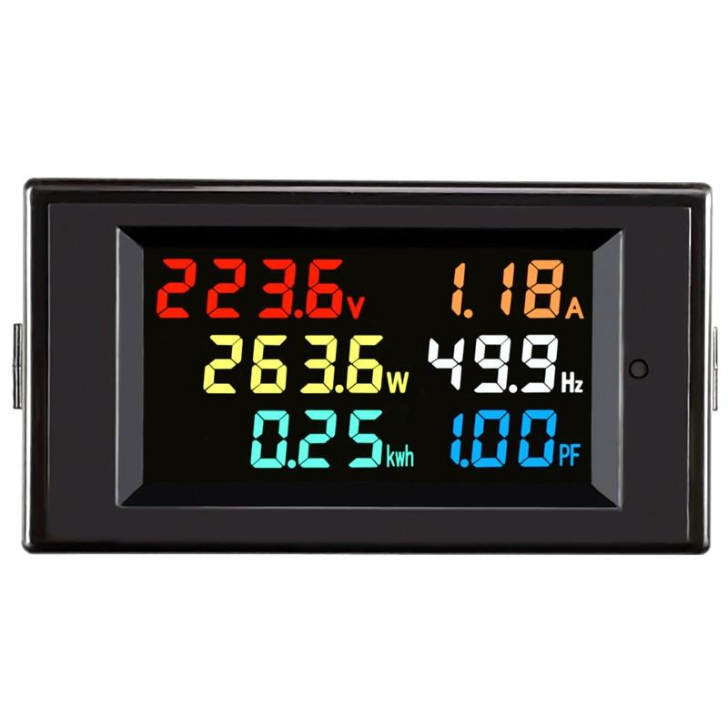 Monitor ac 110v 220v 380v 100a de voltagem, fator de potência atual kwh ativo, medidor de frequência de energia elétrica amplificador digital lcd volts