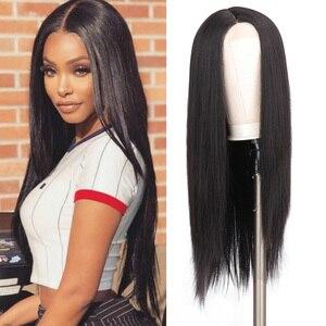 HOUYAN Afro czarna peruka koronkowa przednia część środkowa część Ombre prosto 30 cali włosy naturalne syntetyczne codzienne peruki dla kobiet
