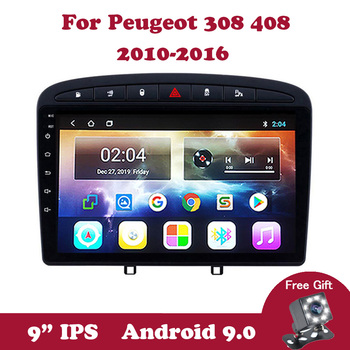 Android 9.0 Car Radio Multimedia Player For Peugeot 308 408 2010 2011-2016 Navigation GPS 9 IPS Touchscreen Support BT WIFI OBD image