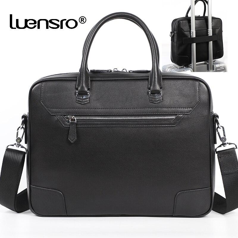 LUENSRO Man Briefcase Genuine Leather Shoulder Laptop Bag Office Bag For Men Briefcases Cow Leather Big Handbag Business Men Bag
