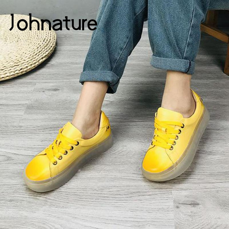 Johnature Women Casual Shoes Genuine Leather 2020 New Spring Lace-up Sewing Fashion Leisure Concise 4 Colors Ladies Shoes