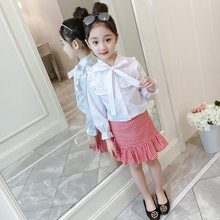 Kids Girls Two Piece Set Top and Skirt Petal Sleeve Clothing Set Girls Fashion Skirt and Blouse Sets With Bowknot Front 4 to 13T girls geometric print top with solid skirt