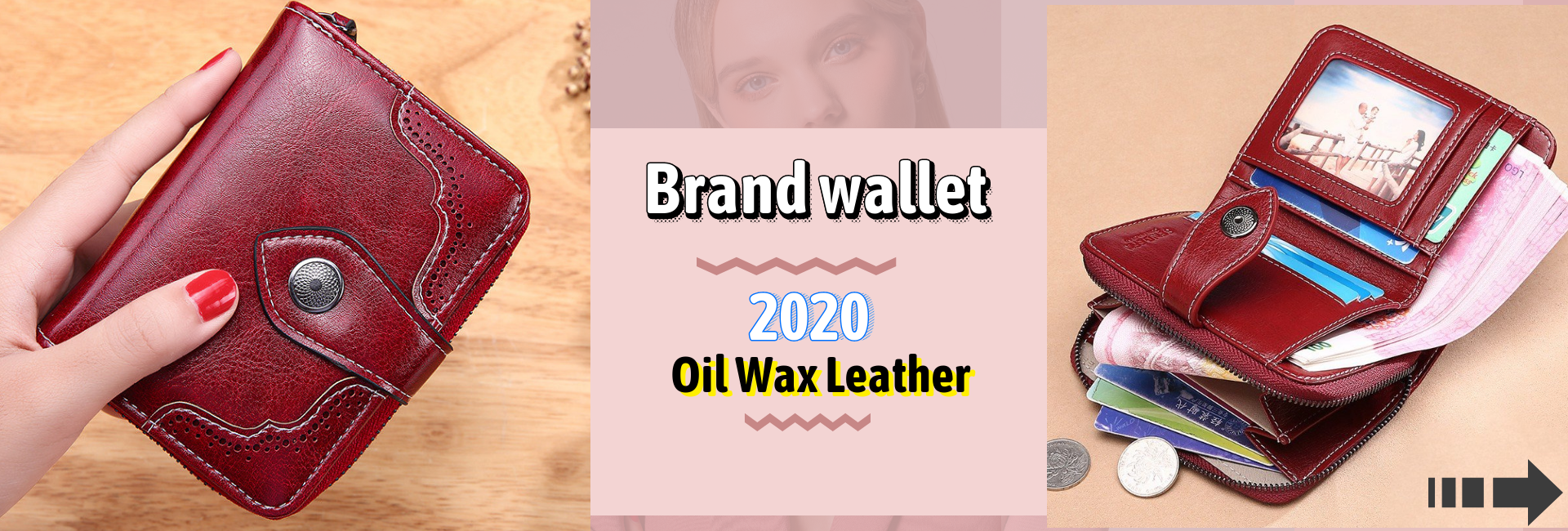 2020 New Women's Wallet Wax oil skin wallet portfel damski Lady Long Leather Clutch Bag Wallet Card Holder carteira feminina