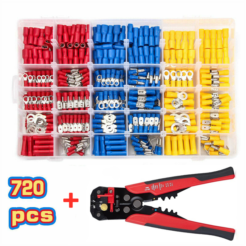 720PCS Insulated Cable Connector Electrical Wire Crimp Spade Butt Ring Fork Ring Lugs Rolled Terminals + Self Adjusting Plier