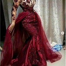 Burgundy Sequined Floral Lace Mermaid Prom Dresses With Deta