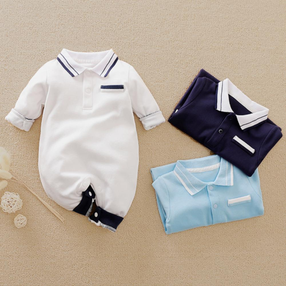 PatPat 2020 New Spring And Autumn Baby Boy Newborn Cotton Style Gentleman Polo Collar Solid Long-sleeve Jumpsuit