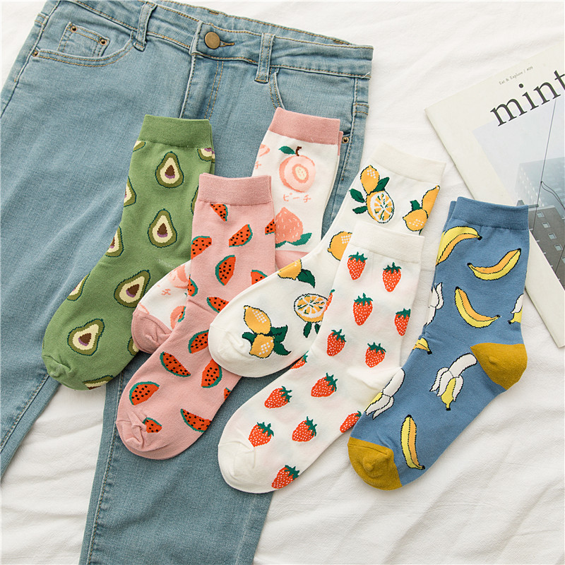 Women Cartoon Fruits Patterned Cotton Socks Fashion Casual Comfortable Socks For Female Youthful Joker College Style Sox Trendy