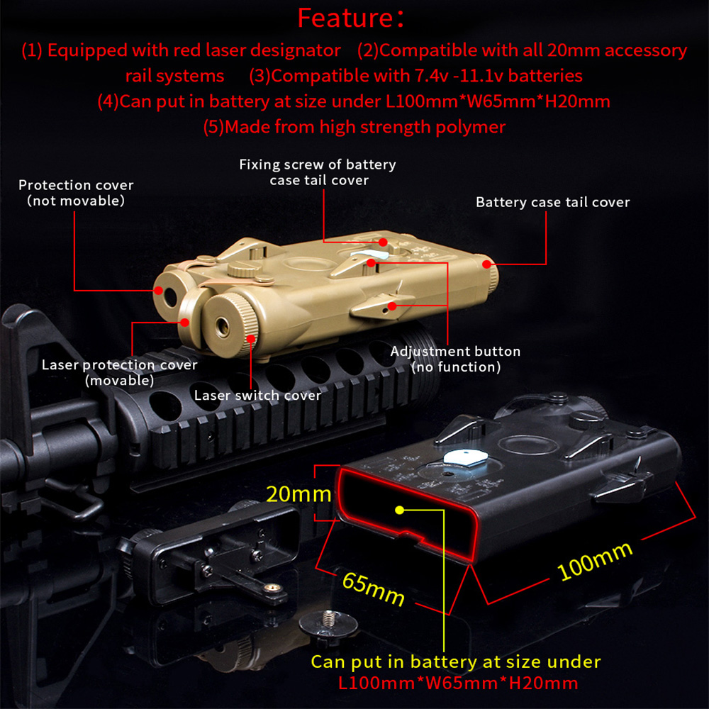 Image 3 - WADSN Airsoft Tactical AN peq PEQ 2 Battery Case Red Laser For 20mm Rails No Function PEQ2 Box WEX426-in Weapon Lights from Sports & Entertainment