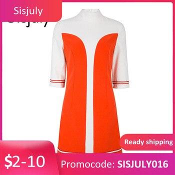 Sisjuly women dresses a line 60s vintage autumn turtneck color block designer dress elegant female winter vintage dresses girl sisjuly 41