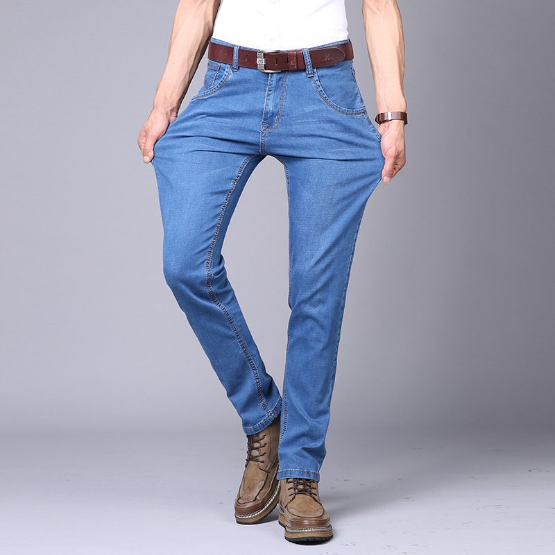 2018 Men New Style Summer Jeans Business Men's Wear Thin Elasticity Straight-leg Pants Slim Fit Trousers