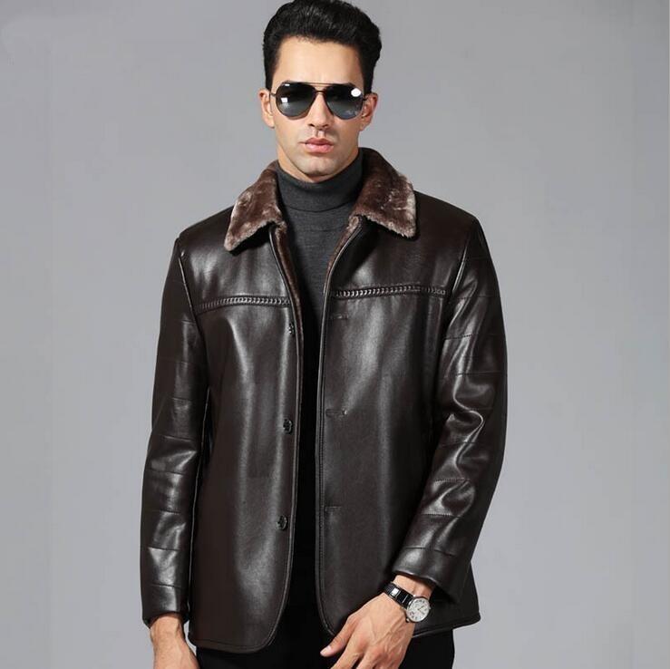 New Arrival Men Genuine Leather Coat Sheepskin Men's Jacket Leather Winter Jackets Mens EMS Free Shipping Plus Size M-4XL