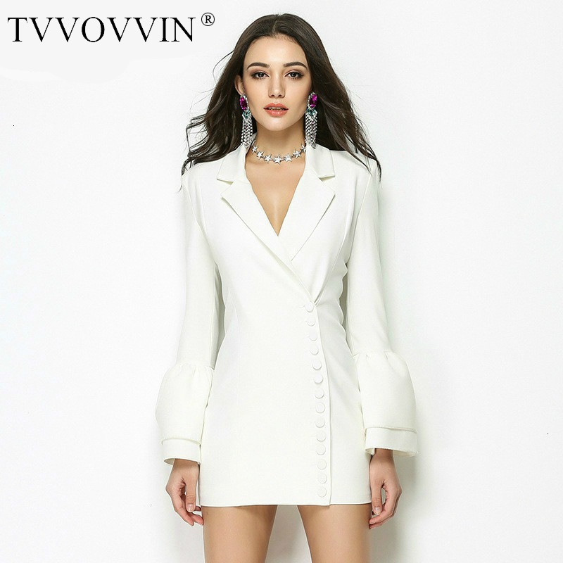 TVVOVVIN 2019 Spring Autumn Temperament Small Loose Dress Suits Sexy V Neck Flare Sleeve Blazers  Women's Tops Z842