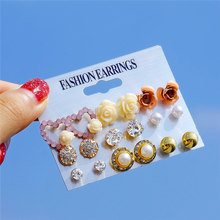Cute Pink Flower Earrings for Women Girls Elegant Pearl Crystal Resin Studs Earrings Rose Flower Heart Ear Jewelry Mix wholesale(China)
