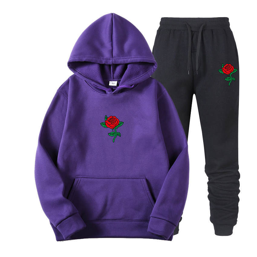 Suits Tracksuits Men Harajuku Rose Flower Print  Hoodies Winter Sweatshirt Casual 2-piece Set Jogger Pants+Pullovers Streetwear (12)