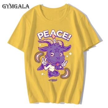 100% cotton anime cartoon Geng ghost printed men's T-shirt summer cotton short-sleeved T-shirt fashion tops tee men's clothing f - XQ-131 yellow, Asian size M