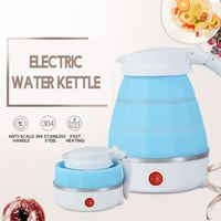 0.6L Electric Kettle Safety Silicone Foldable Portable Travel Camping Water Boiler Adjustable Voltage Auto Power Off Protection