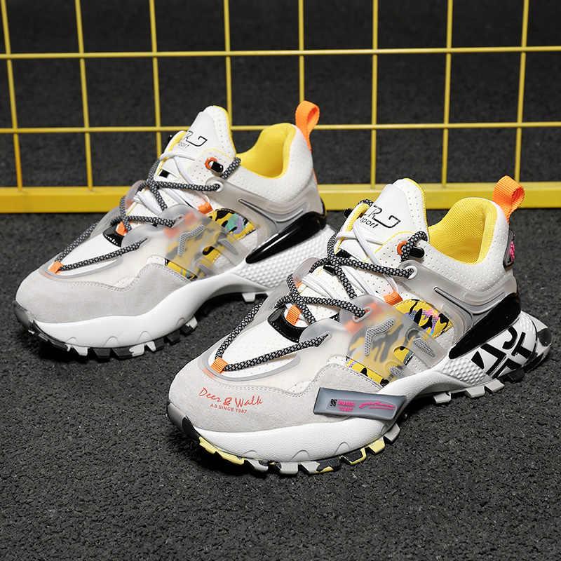 FEOZYZ hakiki deri moda tıknaz Sneakers erkek inek süet koşu ayakkabıları eğitmenler spor ayakkabılar