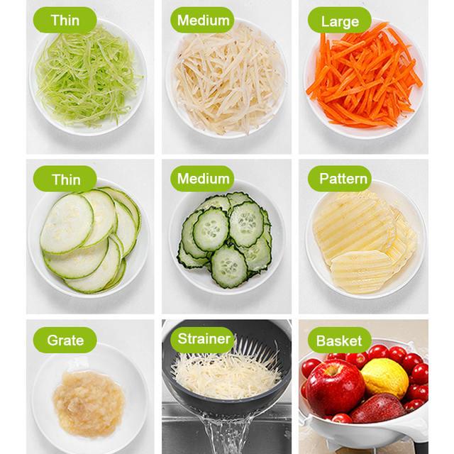 2 in 1 vegetable cutter slicer fruit cutter strainer basket multifunctional