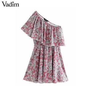 Image 2 - Vadim 女性ファッション花柄ミニドレスノースリーブ弾性ウエスト a ラインの女性のカジュアルフリルドレス vestidos mujer QD163