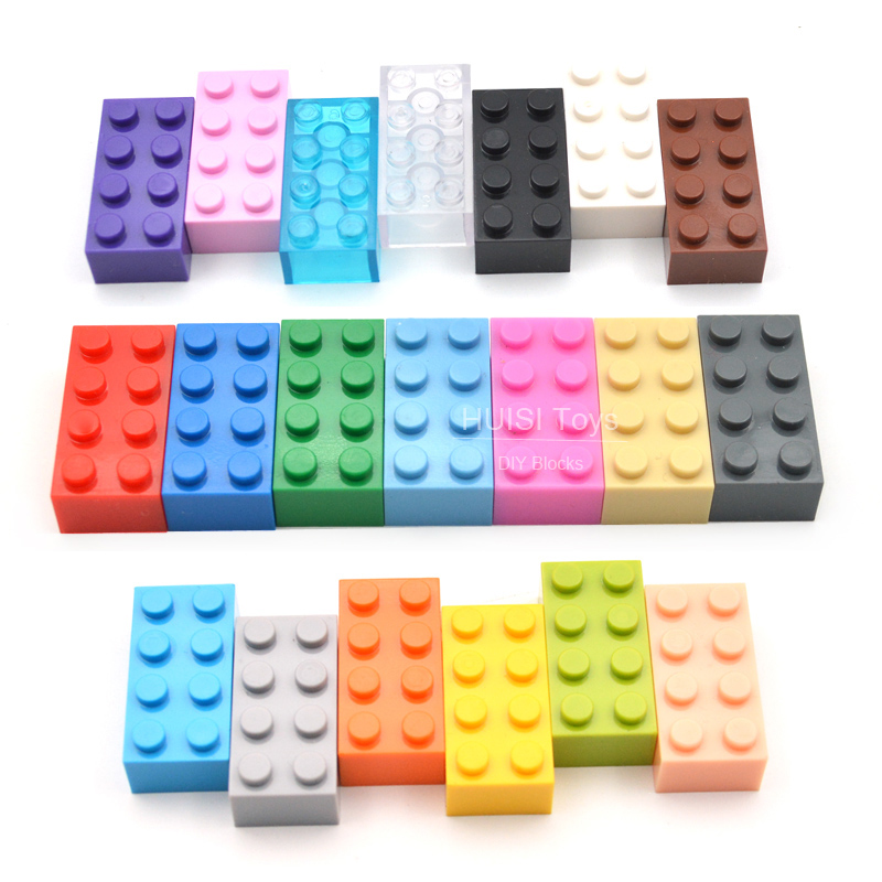 100PCS/Lot Kids DIY Toys 2*4 Plastic Building Blocks To Assemble Educational Learning Girls & Boys Toys Compatible With Lego