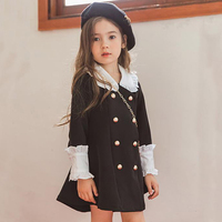Brand Little Girls Autumn Dress Peter Pan Collar Double breasted Preppy Style Clothing 3 6 8 12 Y Girls Back to School Dress
