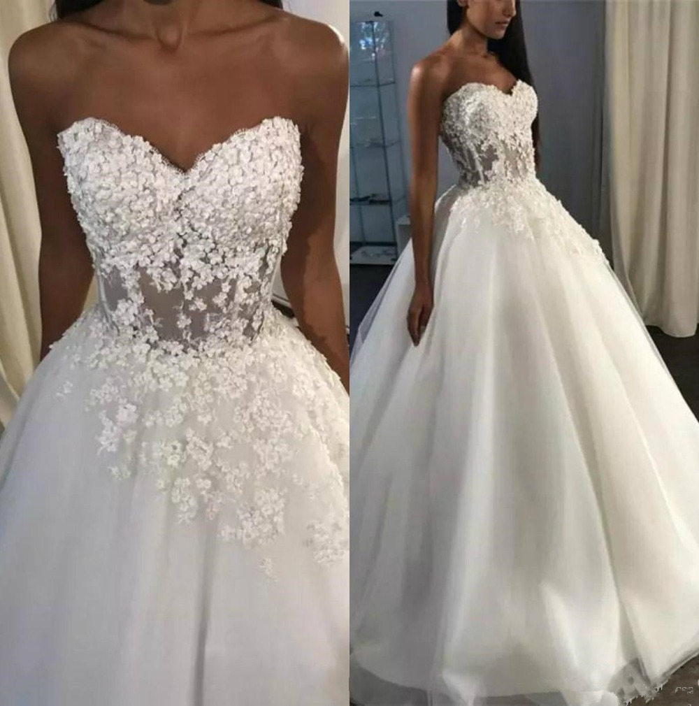 Vestido De Noiva Sexy Sweetheart Wedding Dresses 2019 Ball Gowns Corset Back Lace Wedding Dress Bridal Gown Robe De Mariee
