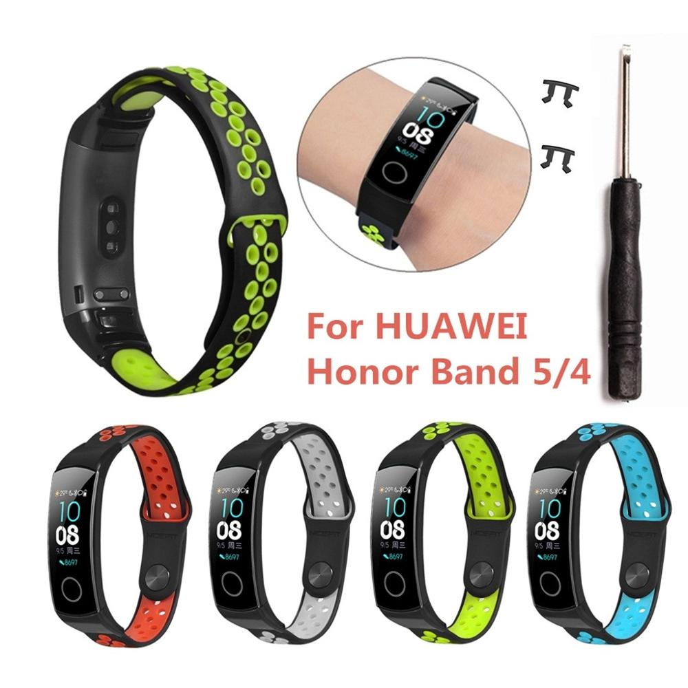Silicone Watch Straps For Huawei Honor Band 4 5 Watchband Replacement Watch Straps 2019 New Arrival Sports Wrist Band Strap
