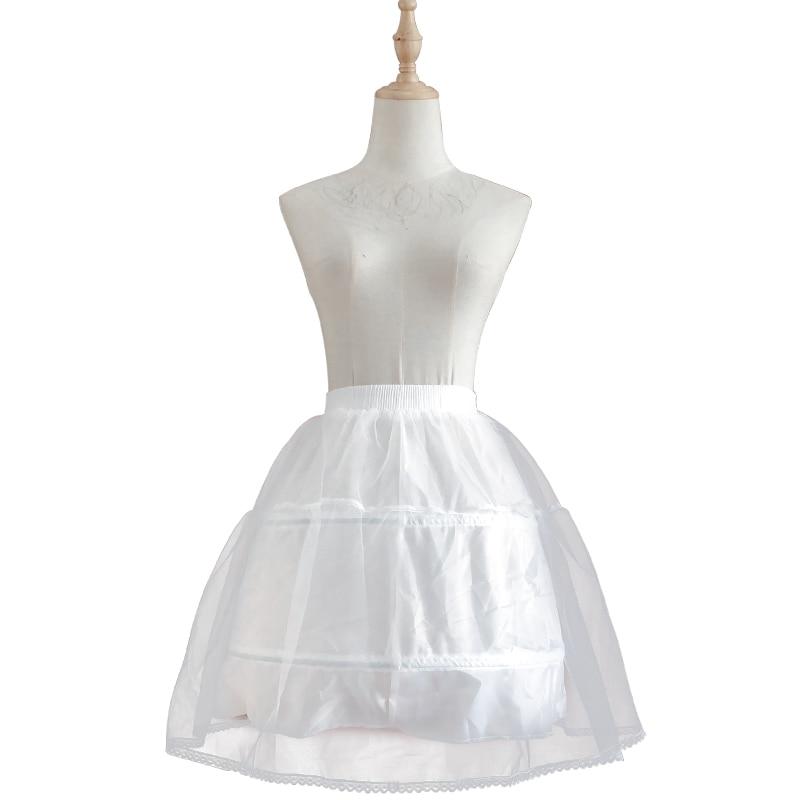 White 3 Layers Tulle Lolita Petticoat Princess Tutu Skirt Crinoline 2 Steel Hoop Lace Fringe Wedding Dress Accessories Petticoat