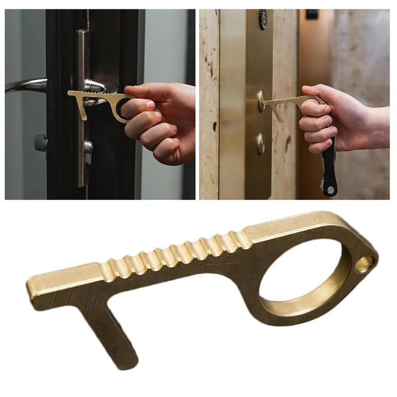 Portable Press Elevator Tool Hygiene Hand Antimicrobial Brass Hand Tool EDC Door Opener Door Handle Key Limit Germ Exposure