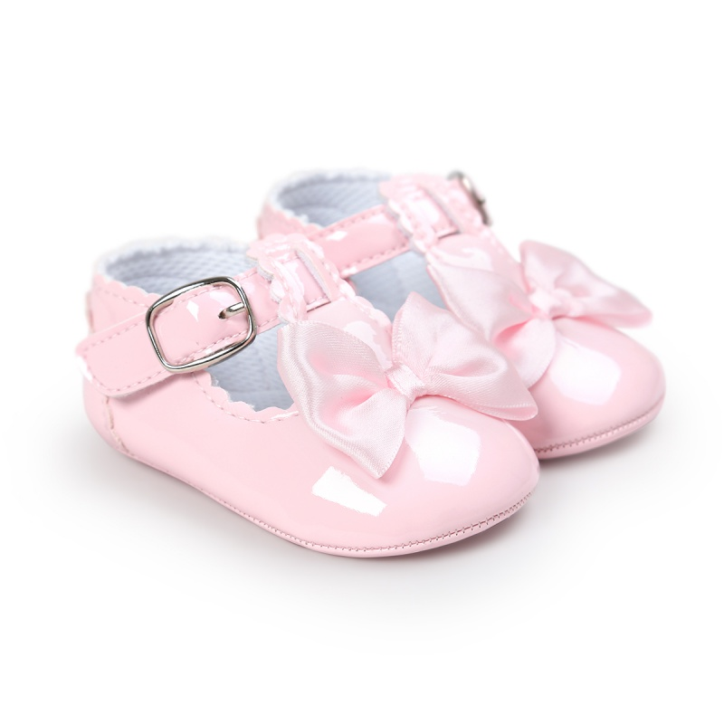 Newborn Baby Girls Shoes PU Leather Buckle First Walkers With Bow Red Black Pink White Soft Soled Non-slip Shoes S/M/L