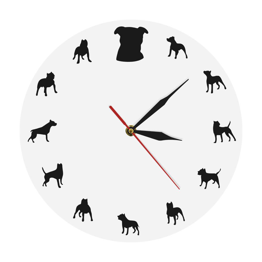 Pitbull Dog Portrait Modern Iconic Clock Animal Wall Clock Gift For Bulldog Pitbull Lover Silhouettes Dog Breeder Wall Clock