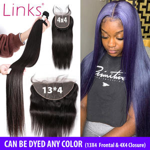 Weave Links Closure Lace-Frontal Remy-Bundles Brazilian-Hair 40inch 3 Straight with And
