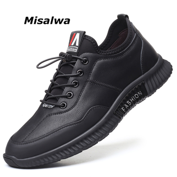 Misalwa Brand Black Elastic Men Casual Leather Sneakers Leisure Outdoor Loafers Male Lace-Up Youth Boy Board Korean Shoes spring men low top casual shoes lace up loafers breathable sneakers youth popular shoes male flats black red 01b