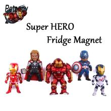 5pcs Creative PVC powerfulThe Avengers series anime characters Marvel hero  3D fridge magnets Refrigerator Kids Gift
