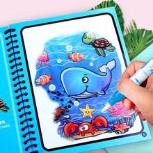 Montessori oyuncaklar yeniden boyama kitabı sihirli su çizim kitabı duyusal için erken eğitim oyuncaklar çocuklar için doğum günü hediyesi