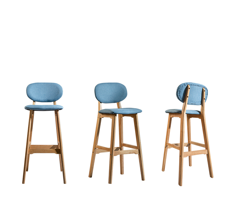 Solid Wood Bar Chair Home Modern Minimalist High Chair Stool Guide Table Restaurant Nordic Backrest Bar Chair