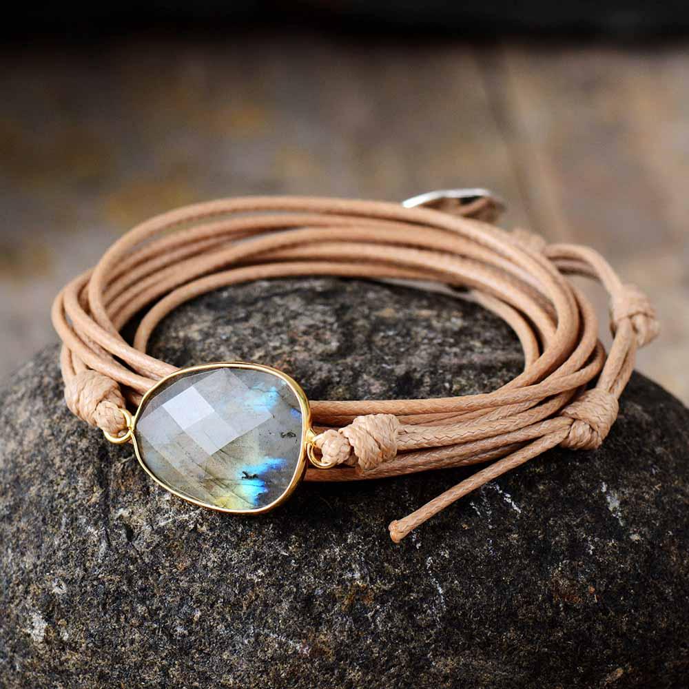 Rope Wrap Bracelet Natural Stones Labradorite Boho Long Friendship Bracelet Unique Handmade Ethnic Bracelets Dropshipping(China)