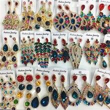 12 pares mistos lotes multicolorido casamento nupcial statement brincos de cristal feminino strass gota balançar brincos jóias coreanas