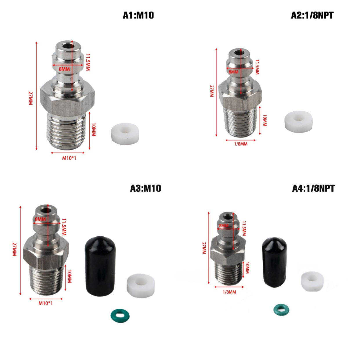 PCP Paintball Pneumatic Quick Coupler 8MM M10x1 Male Plug Adapter Fittings 1/8NPT Air Refilling Stainless Steel 1Set