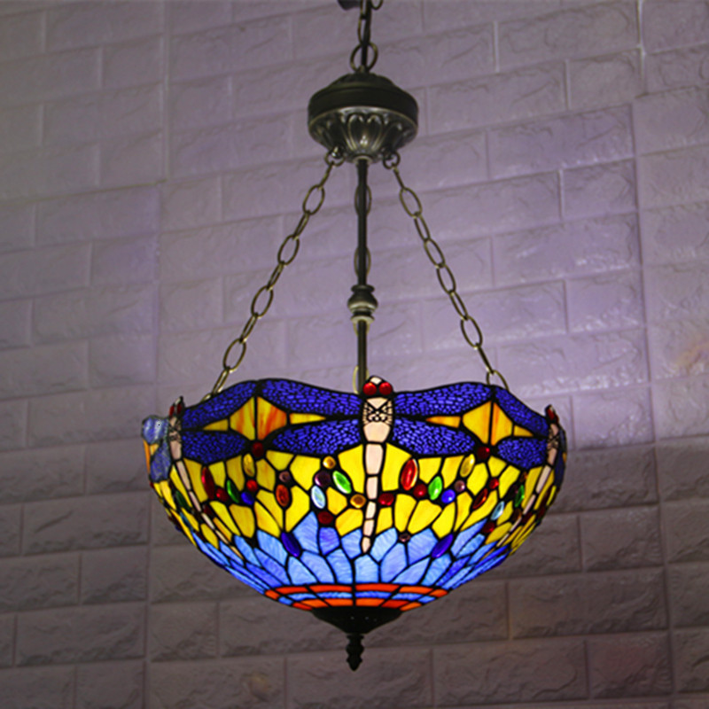 Tiffany Dragonfly Lamp Glass Shade Pendant Light Bohemian Single Pendant Hanging Light Foam Packing For Hallway Corridor Kitchen